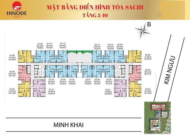 Mặt bằng tòa Sachi T5-10 Hinode City 210 Minh Khai
