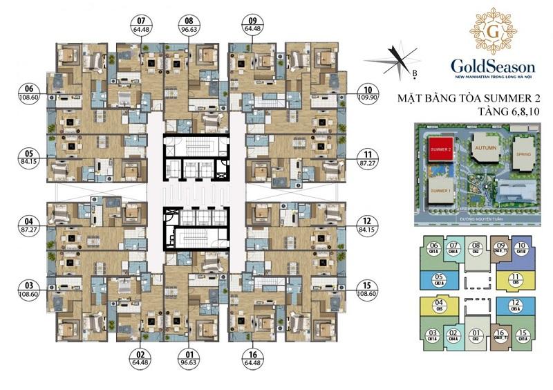 Mặt bằng tòa Summer2 dự án Gold Season 47 Nguyễn Tuân