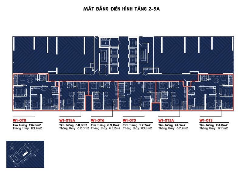 Mặt bằng tòa W1 tầng 2-5A Vinhomes West Point Đỗ Đức Dục