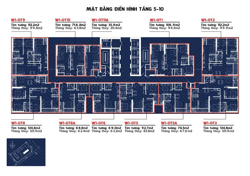 Mặt bằng tòa W1 tầng 5-10 Vinhomes West Point Đỗ Đức Dục