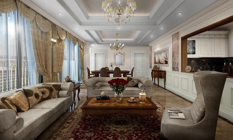 Phòng khách căn hộ D El Dorado Phú Thanh