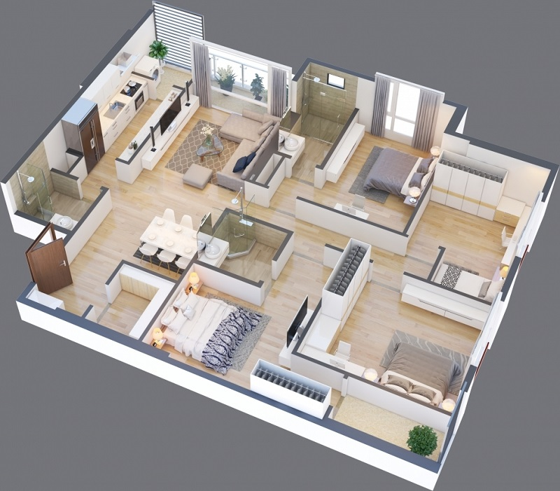 Thiết kế căn A 09 chung cư Green Pearl 378 Minh Khai