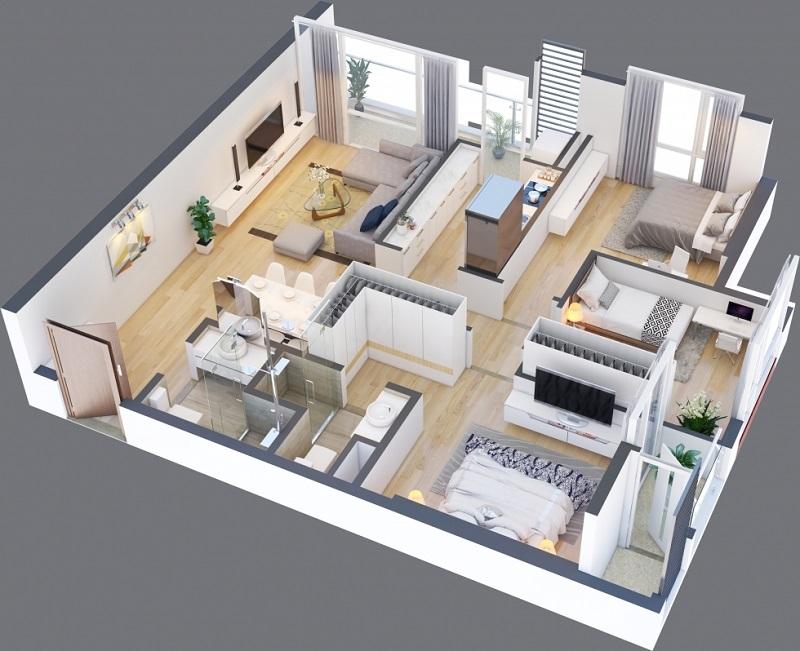 Thiết kế căn A 10 chung cư Green Pearl 378 Minh Khai