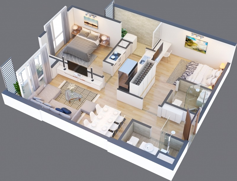 Thiết kế căn A 11 chung cư Green Pearl 378 Minh Khai