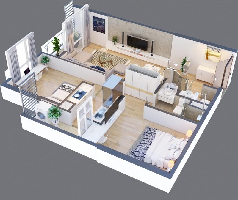 Thiết kế căn A 12 chung cư Green Pearl 378 Minh Khai