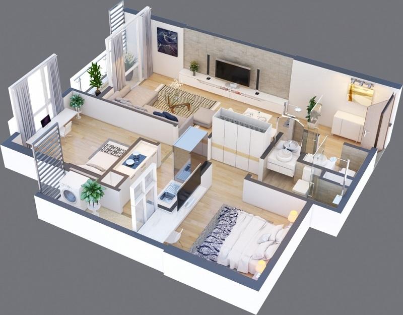 Thiết kế căn A 13 chung cư Green Pearl 378 Minh Khai