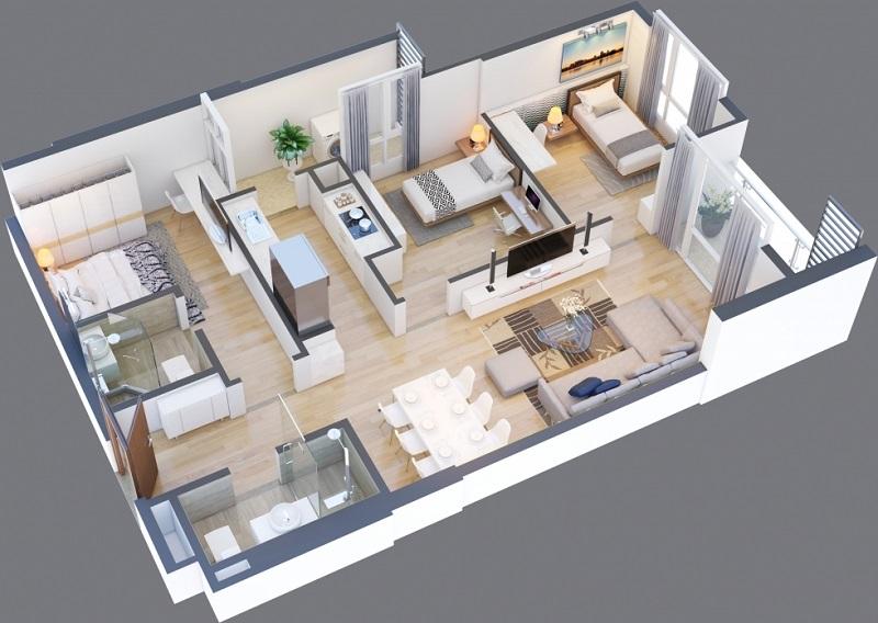 Thiết kế căn A 03-04-07-08 chung cư Green Pearl 378 Minh Khai
