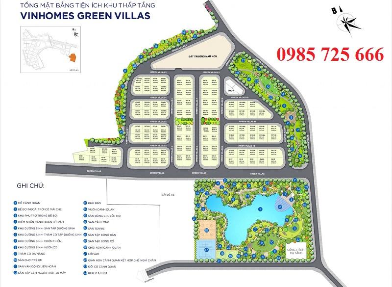 Tổng mặt bằng Vinhomes Green Villas - Biệt thự Vinhomes Smart City