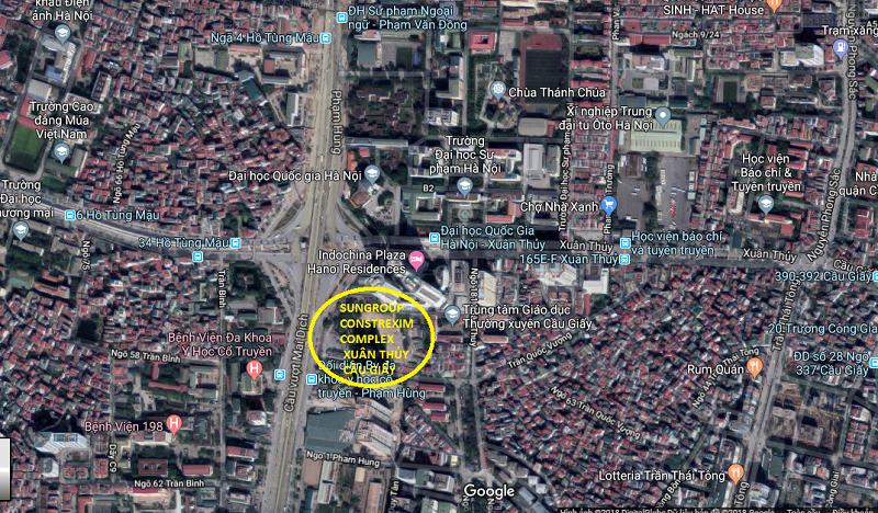 Vị trí chung cư Sungroup Constrexim Complex Cầu Giấy