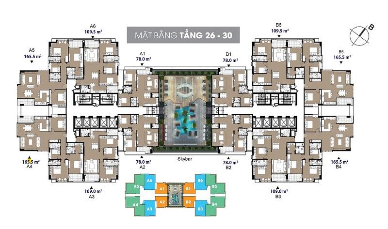 Mặt bằng căn hộ tầng 26 đến 30 The Legend - 109 Nguyễn Tuân