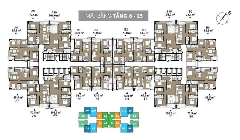 Mặt bằng căn hộ tầng 6 đến 25 The Legend - 109 Nguyễn Tuân