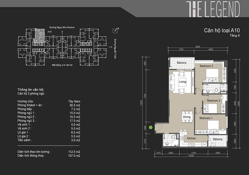 Thiết kế chi tiết căn hộ loại A10 The Legend - 109 Nguyễn Tuân