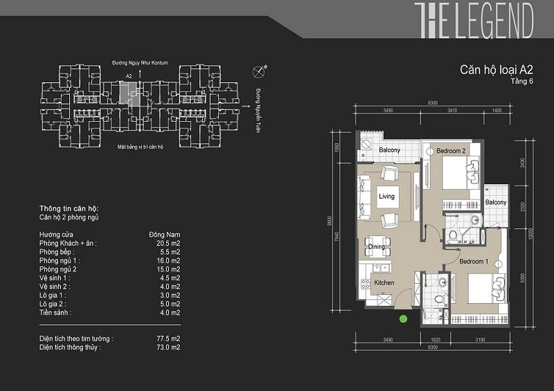 Thiết kế chi tiết căn hộ loại A2 The Legend - 109 Nguyễn Tuân