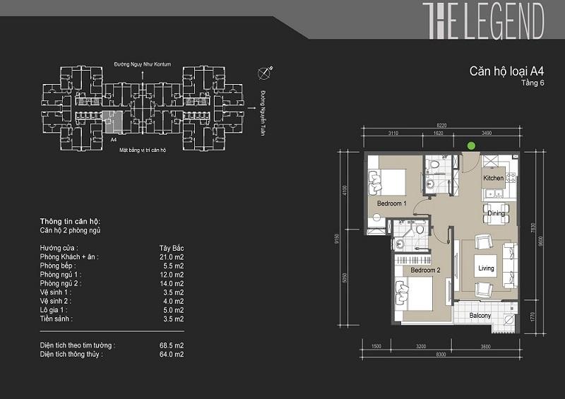 Thiết kế chi tiết căn hộ loại A4 The Legend - 109 Nguyễn Tuân