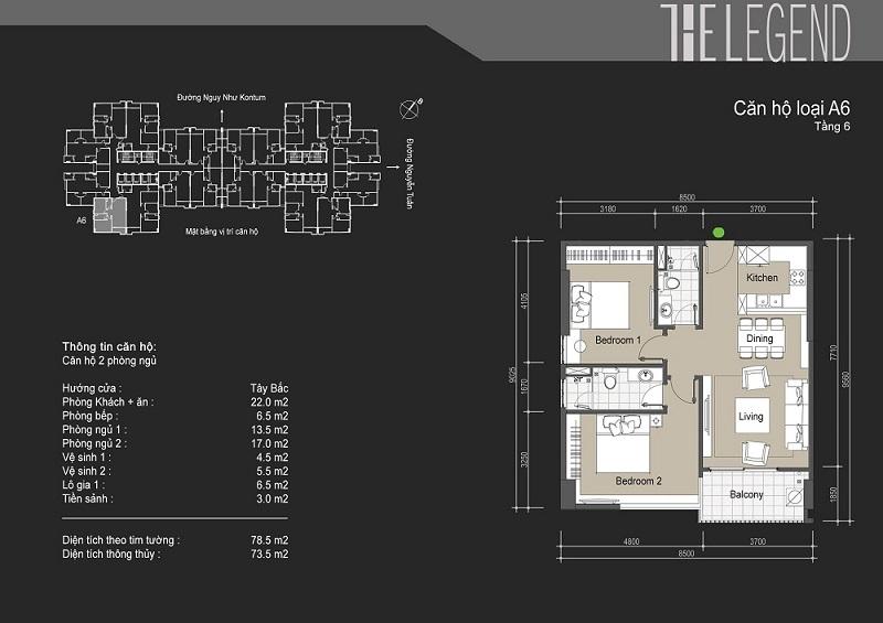Thiết kế chi tiết căn hộ loại A6 The Legend - 109 Nguyễn Tuân