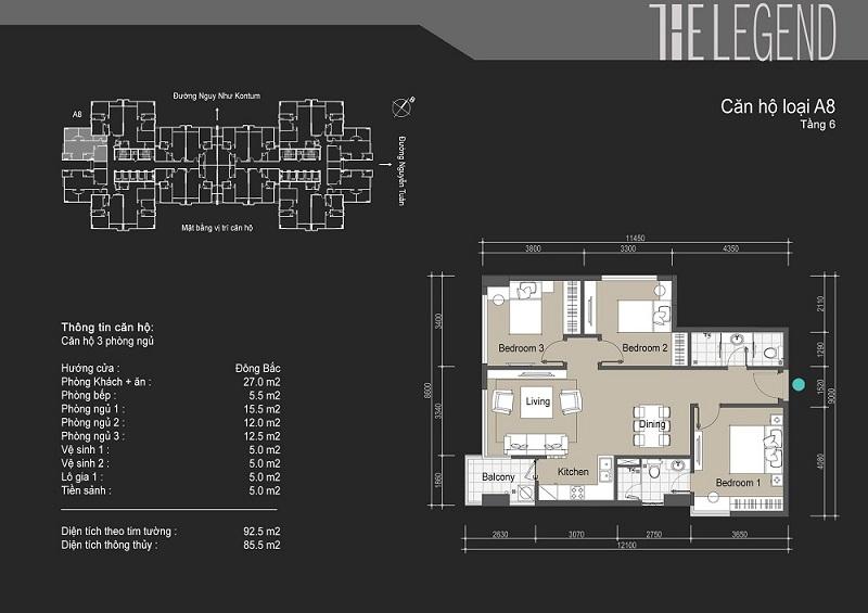 Thiết kế chi tiết căn hộ loại A8 The Legend - 109 Nguyễn Tuân