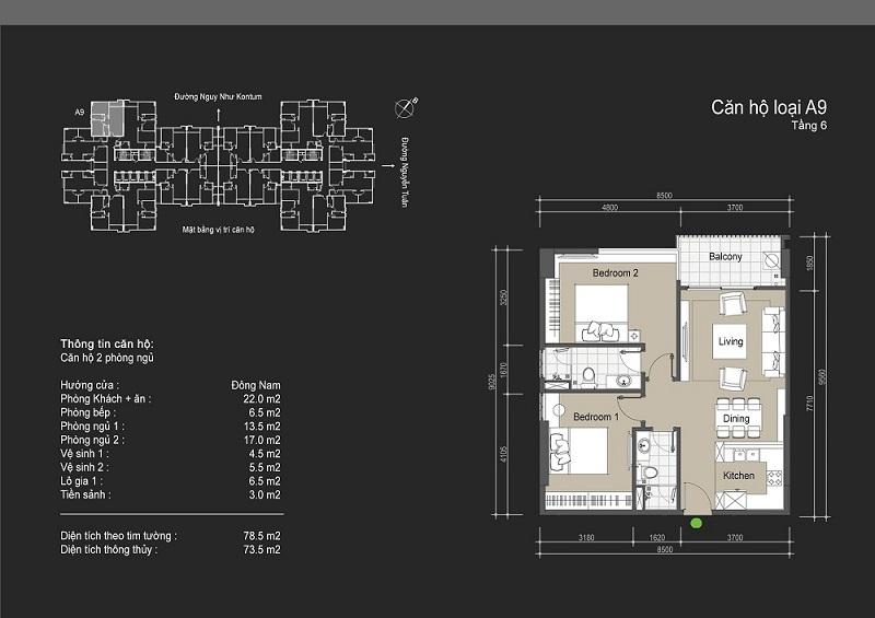 Thiết kế chi tiết căn hộ loại A9 The Legend - 109 Nguyễn Tuân