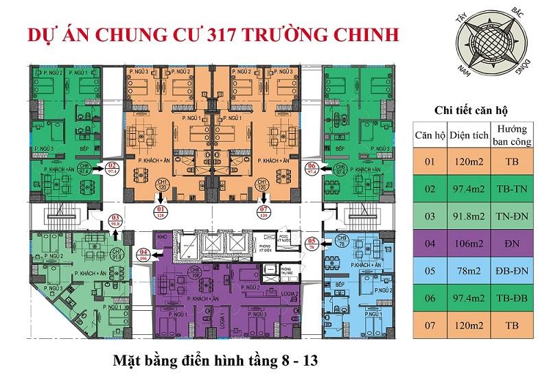 Mặt bằng căn hộ chung cư Hamilton Complex 317 Trường Chinh