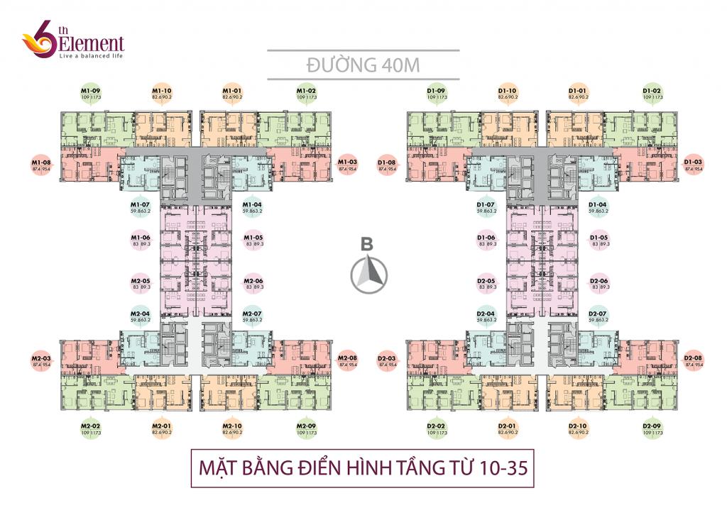 Mặt bằng căn hộ tầng 10 đến 35 chung cư 6th Element Bắc Hà C51 Bộ Công An