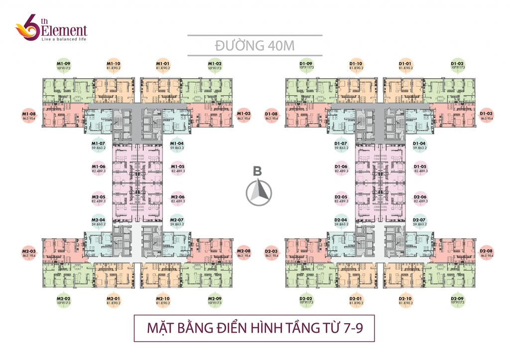 Mặt bằng căn hộ tầng 7 đến 9 chung cư 6th Element Bắc Hà C51 Bộ Công An
