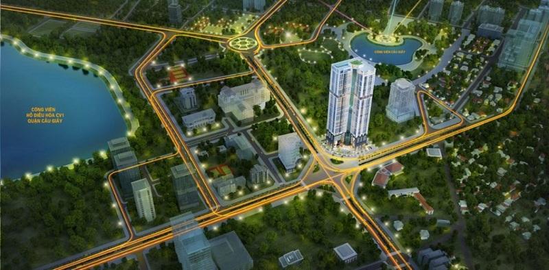 Phối cảnh chung cư Golden Park Tower số 2 Phạm Văn Bạch