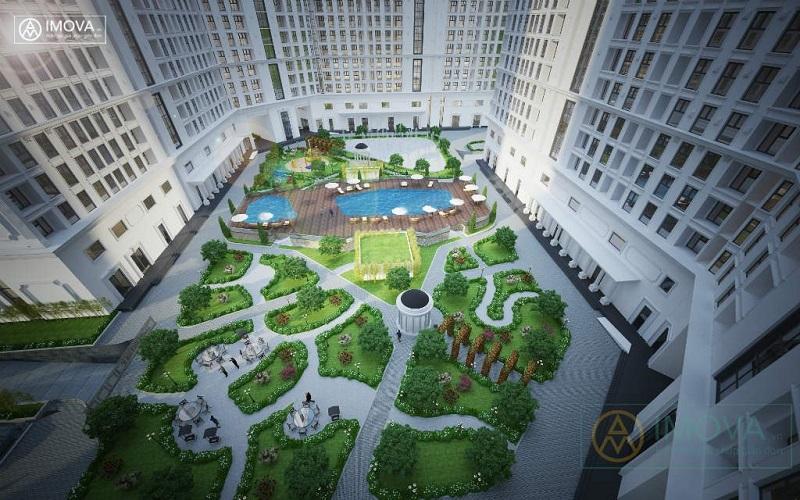Sân vườn Chung cư The Emerald CT8 Mễ Trì