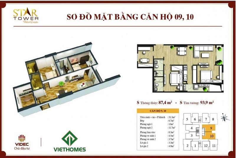 Thiết kế chi tiết căn hộ 2PN + 1 (93,9m2) Star Tower 283 Khương Trung