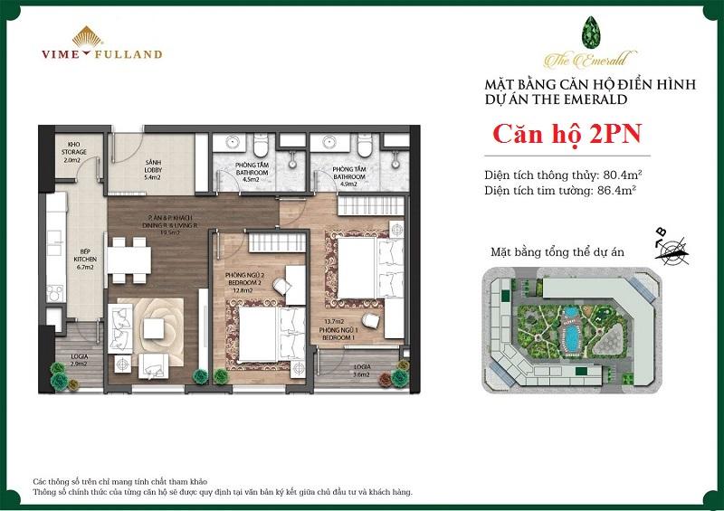 Mẫu thiết kế căn hộ 2PN The Emerald CT8 Mễ Trì
