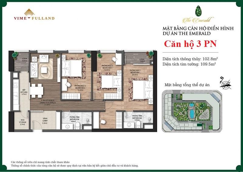 Mẫu thiết kế căn hộ 3PN The Emerald CT8 Mễ Trì