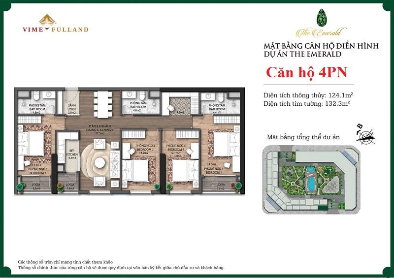 Mẫu thiết kế căn hộ 4PN The Emerald CT8 Mễ Trì