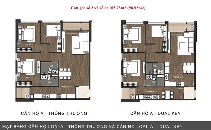 Thiết kế căn hộ loại A chung cư The Sun Mễ Trì