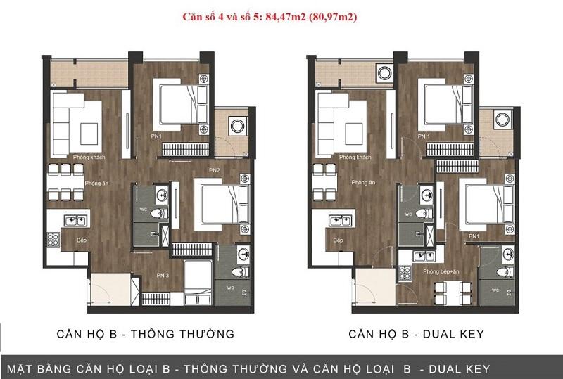 Thiết kế căn hộ loại B chung cư The Sun Mễ Trì