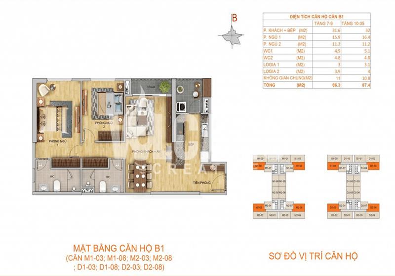 Thiết kế căn hộ loại b1 chung cư 6th Element Bắc Hà C51 Bộ Công An