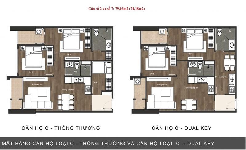 Thiết kế căn hộ loại C chung cư The Sun Mễ Trì