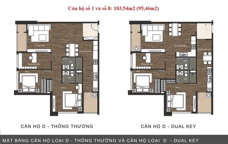 Thiết kế căn hộ loại D chung cư The Sun Mễ Trì
