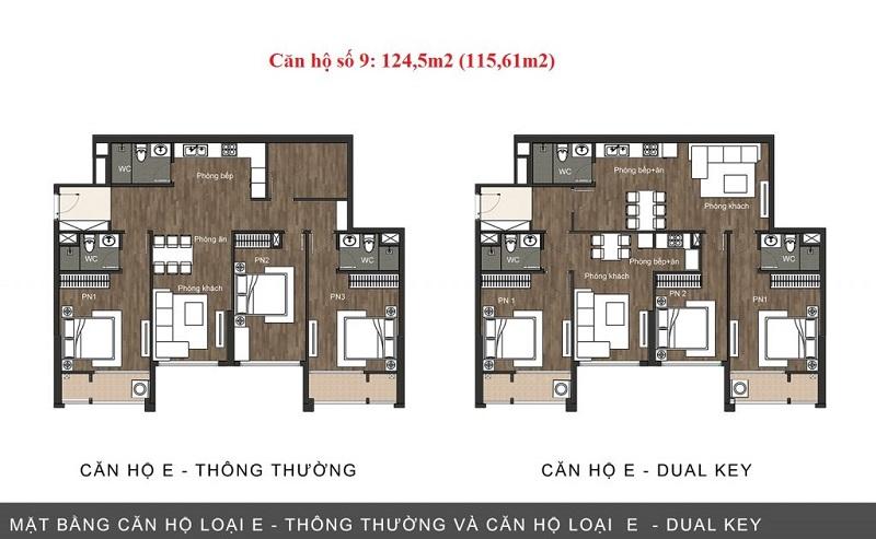 Thiết kế căn hộ loại E chung cư The Sun Mễ Trì