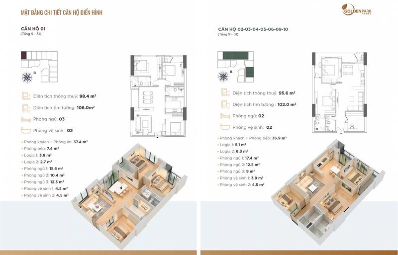 Thiết kế căn hộ số 1-2-3-4-5-6-9-10 chung cư Golden Park Tower Cầu Giấy