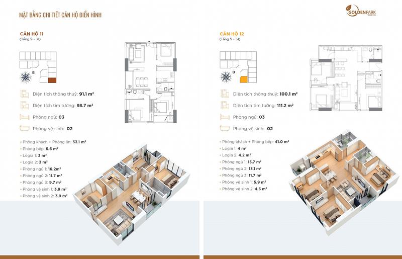 Thiết kế căn hộ số 11-12 chung cư Golden Park Tower Cầu Giấy