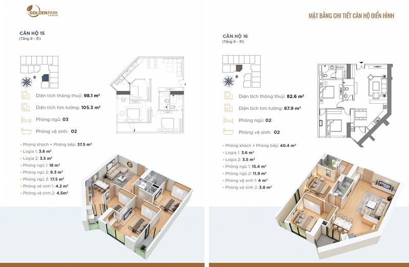 Thiết kế căn hộ số 15-16 chung cư Golden Park Tower Cầu Giấy