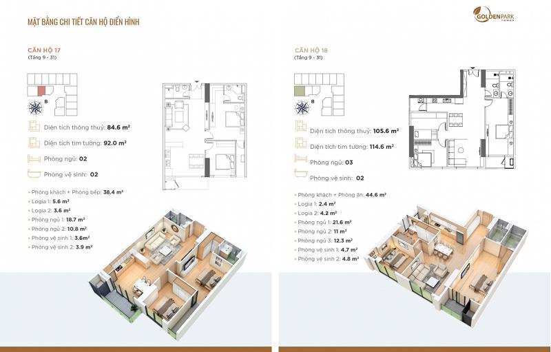 Thiết kế căn hộ số 17-18 chung cư Golden Park Tower Cầu Giấy