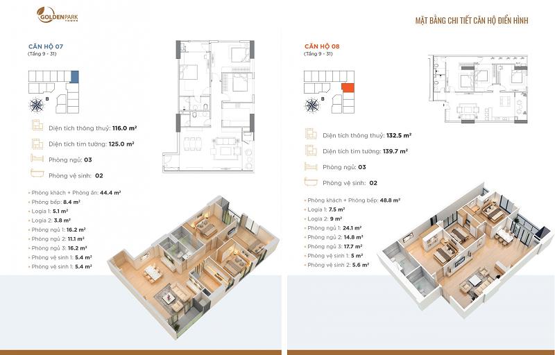 Thiết kế căn hộ số 7-8 chung cư Golden Park Tower Cầu Giấy