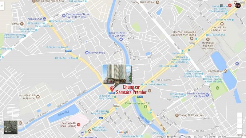 Vị trí chung cư Samsora Premier 105 Chu Văn An - Hà Đông