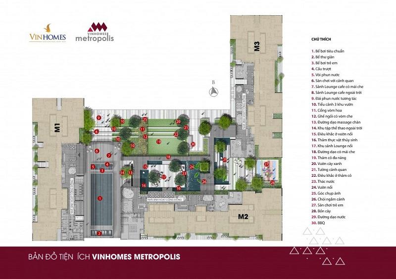 Bản đồ tiện ích Vinhomes Metropolis Liễu Giai