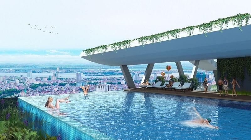 Bể bơi chung cư Grandeur Palace Phạm Hùng - Mỹ Đình