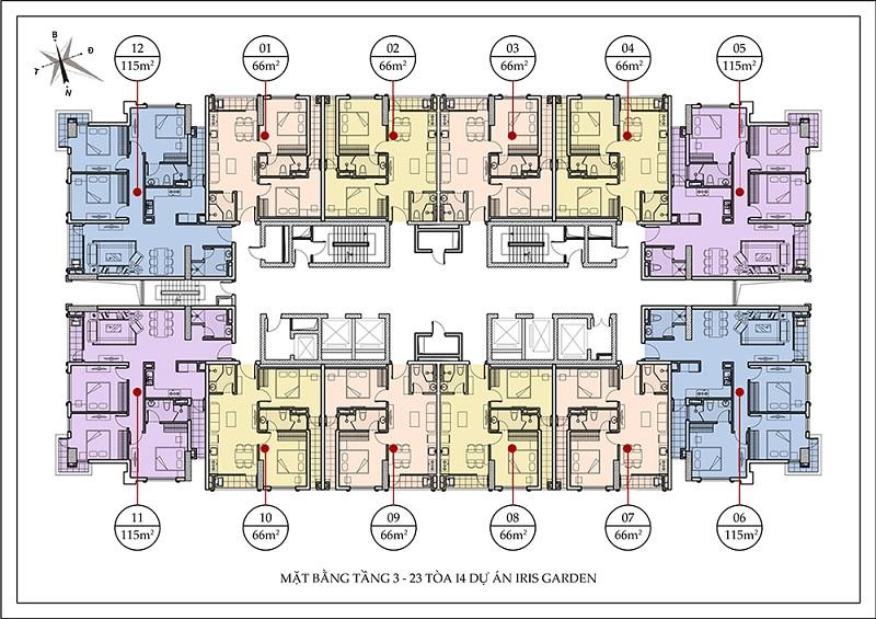 Mặt bằng tòa I4 chung cư Iris Garden Mỹ Đình