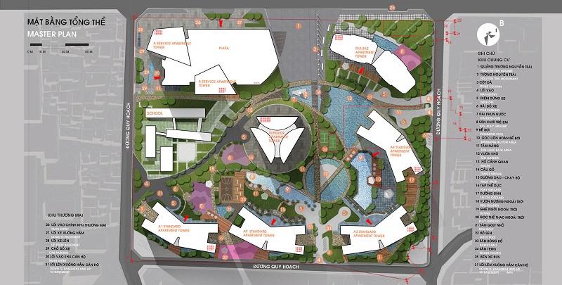 Mặt bằng tổng thể chung cư Vinhomes Smart City Nguyễn Trãi