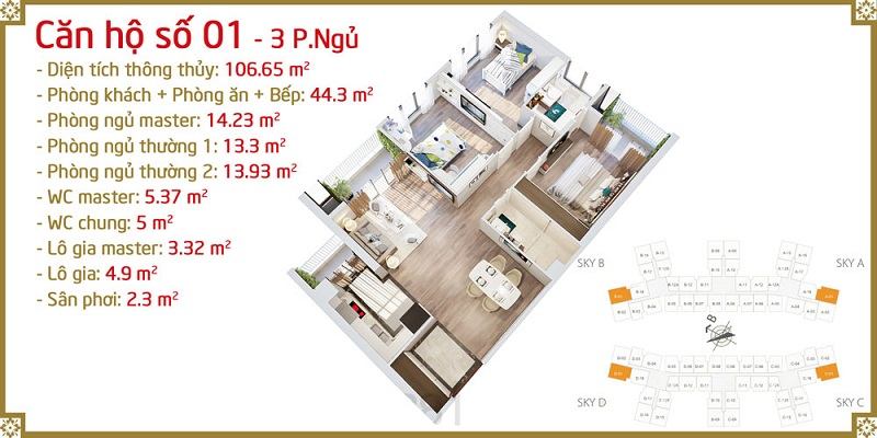 Thiết kế căn 01 Imperia Sky Garden 423 Minh Khai