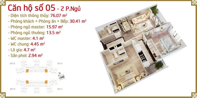 Thiết kế căn 05 Imperia Sky Garden 423 Minh Khai