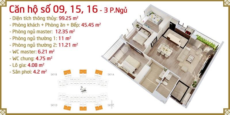 Thiết kế căn 09-15-16 Imperia Sky Garden 423 Minh Khai