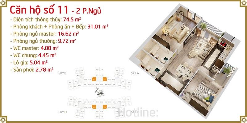 Thiết kế căn 11 Imperia Sky Garden 423 Minh Khai